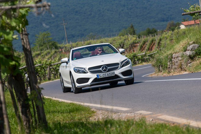 2017 Mercedes Benz C300 Cabriolet front view in motion 04