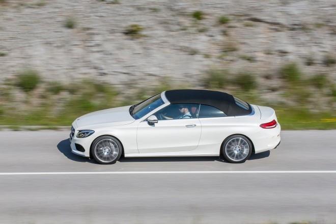 2017 Mercedes Benz C300 Cabriolet side profile in motion 01