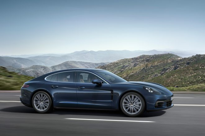 2017 Porsche Panamera 4S Diesel side profile in motion