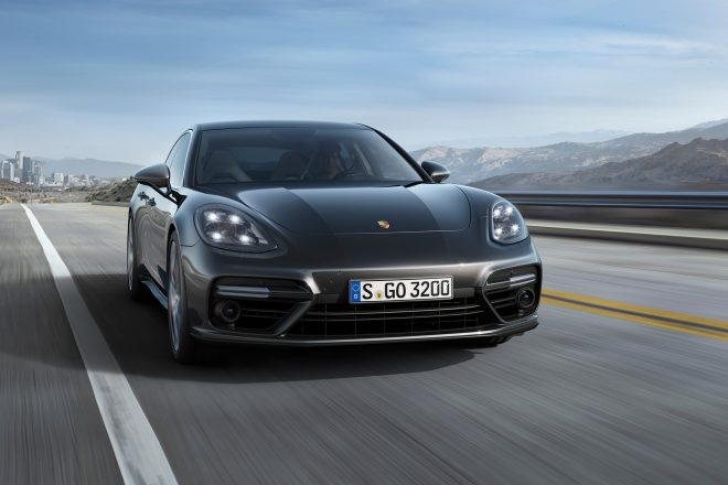 2017 Porsche Panamera Turbo front view in motion