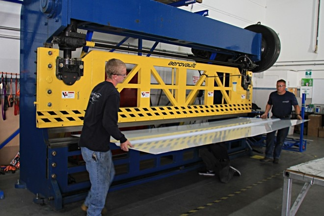 Aerovault 16 foot press brake bends side sheets