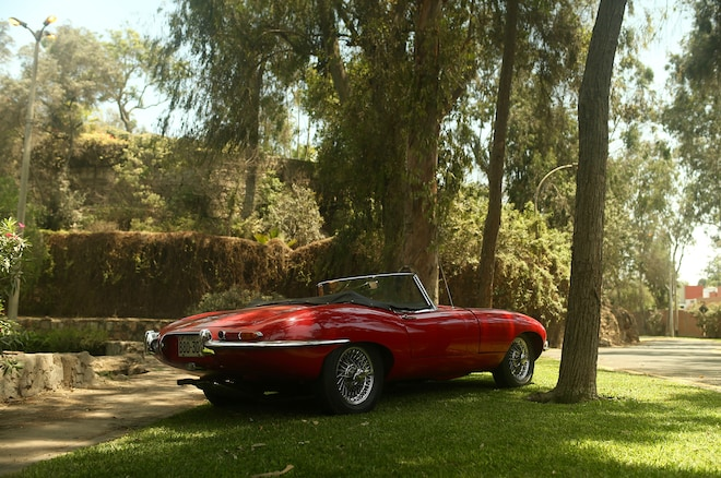 1964 Jaguar E Type Roadster Petrolicious Rear Three Quarters 3