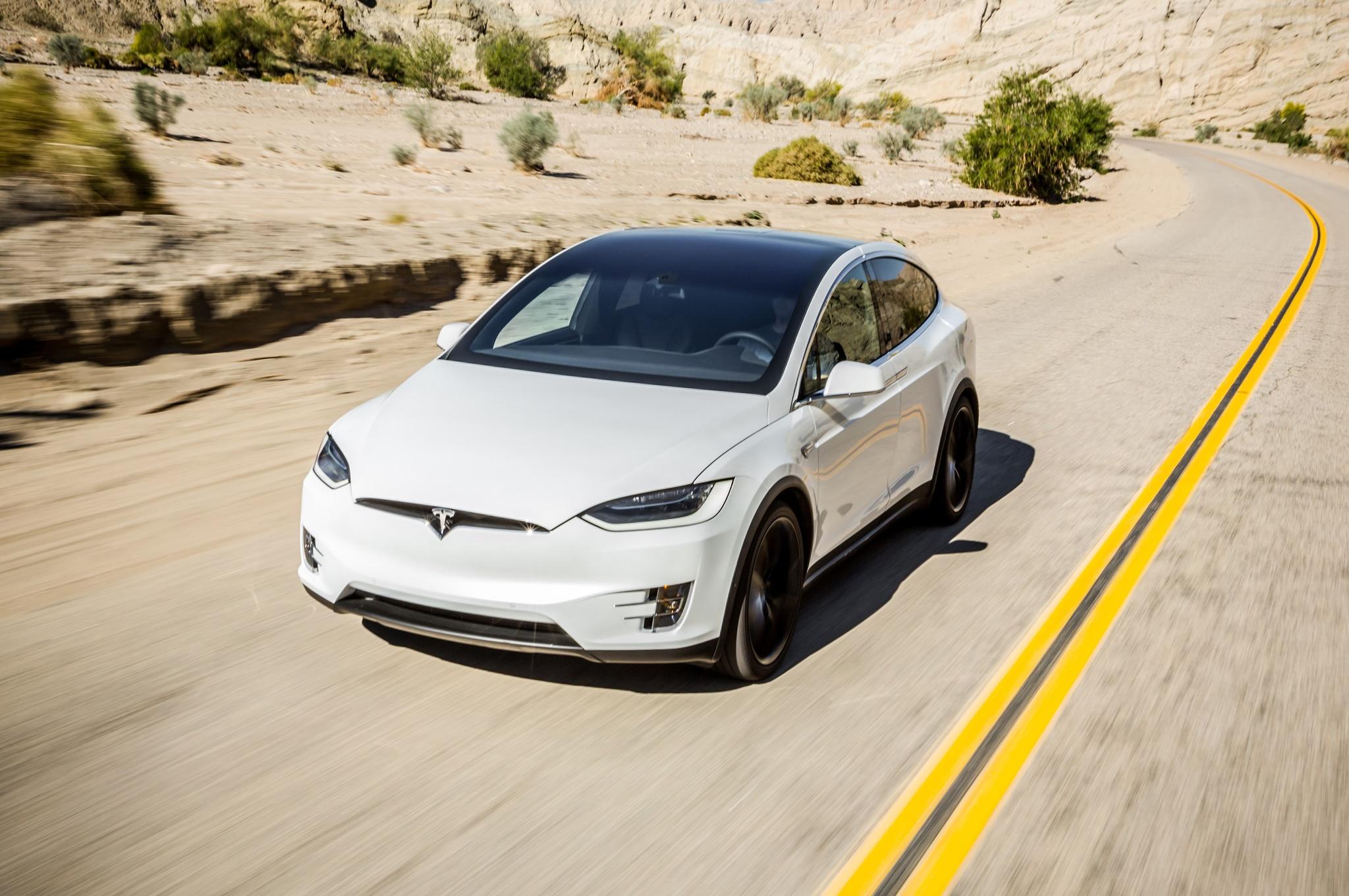 2016 Tesla Model X P90D Front Three Quarter In Motion 1