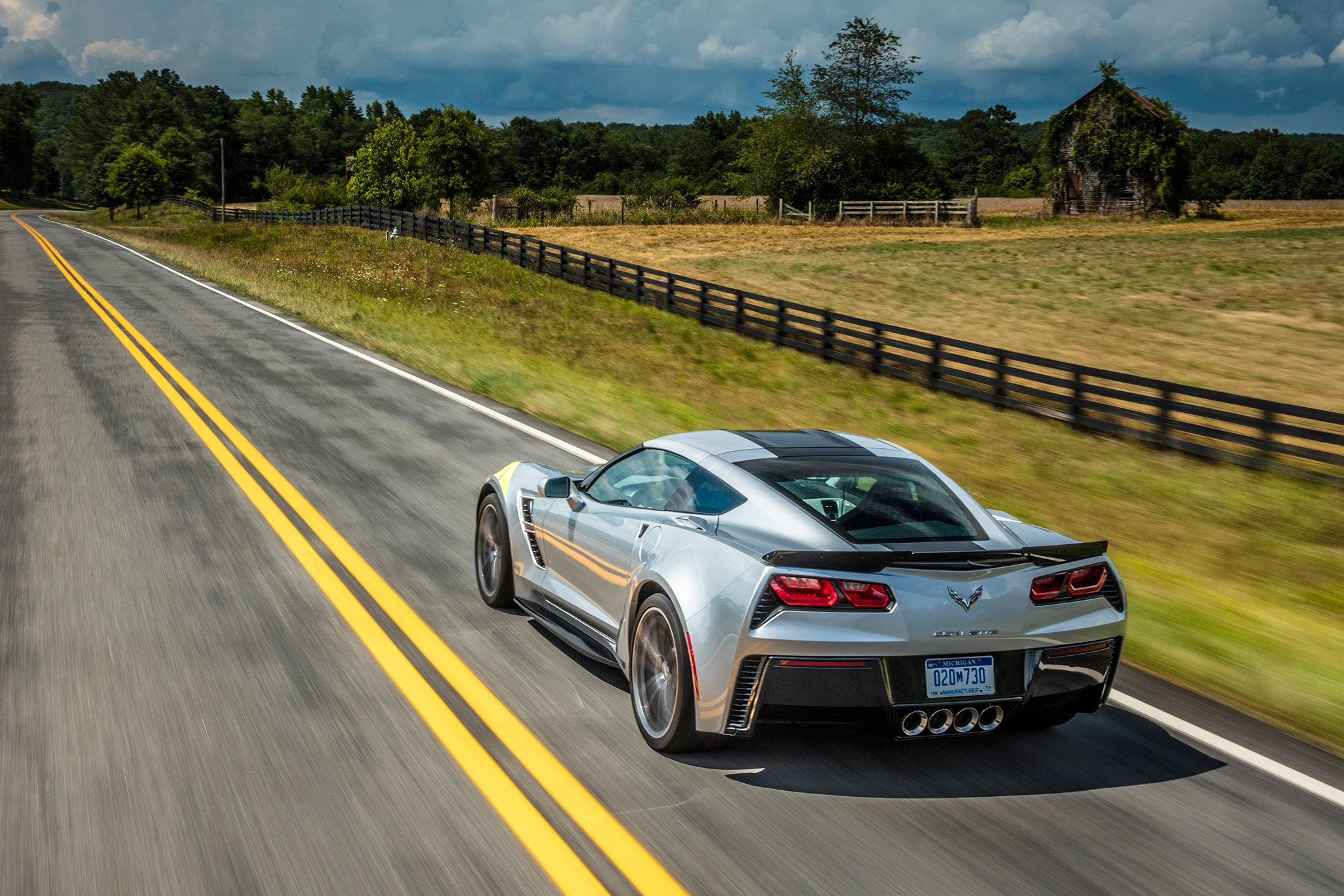 2017 Chevrolet Corvette Grand Sport Rear Three Quarter In Motion 04