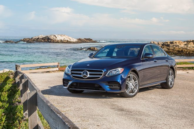 2017 Mercedes Benz E300 4Matic front three quarter 02
