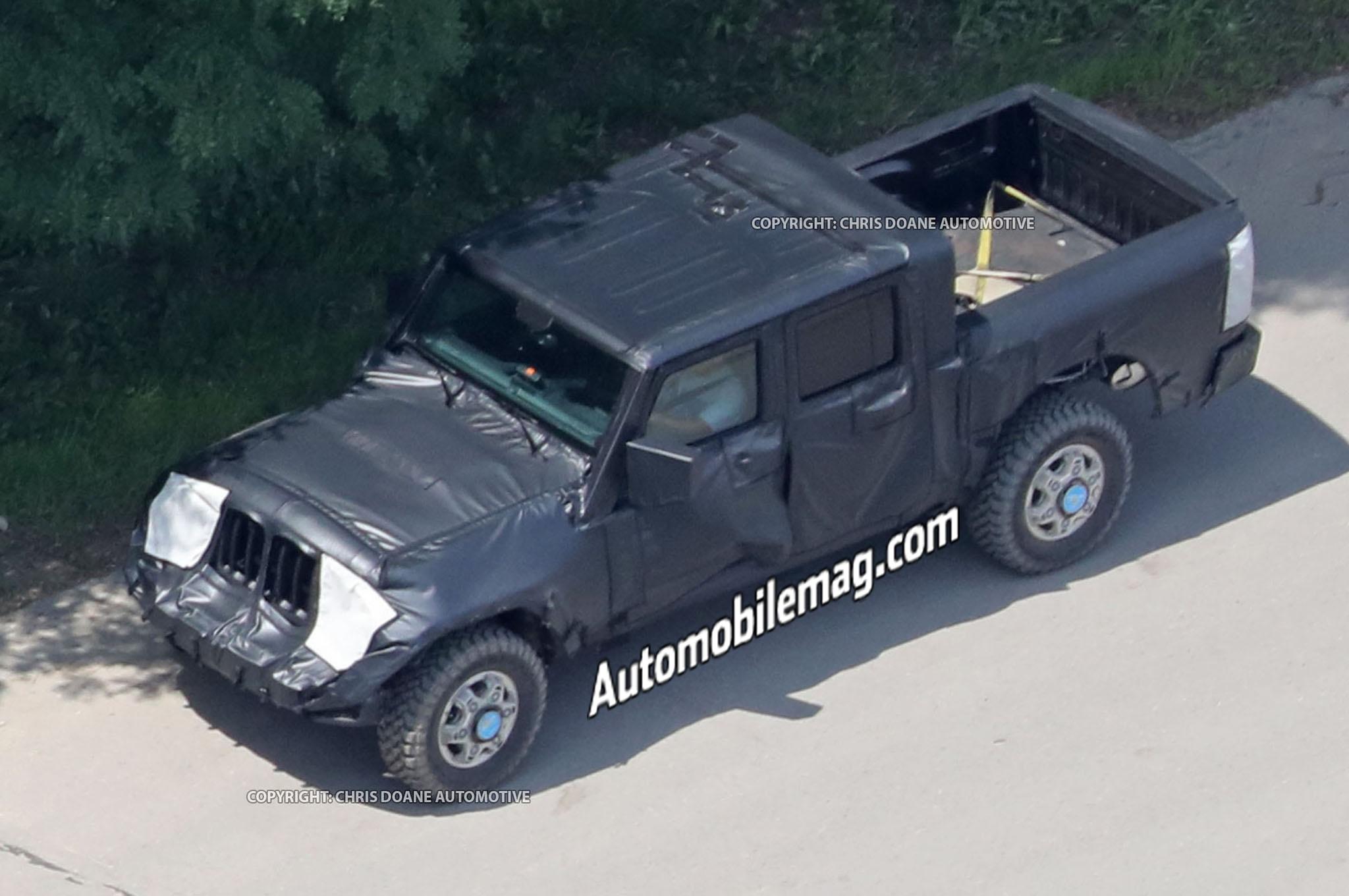 Jeep Wrangler Pickup Truck Spyshots Front Three Quarters 2