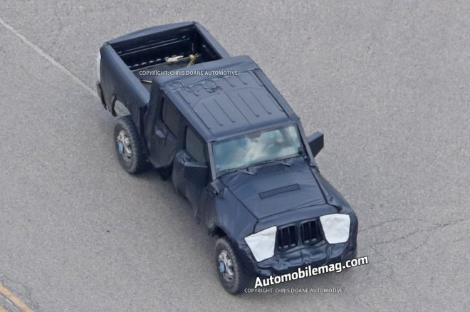 Jeep Wrangler Pickup Truck Spyshots front three quarters