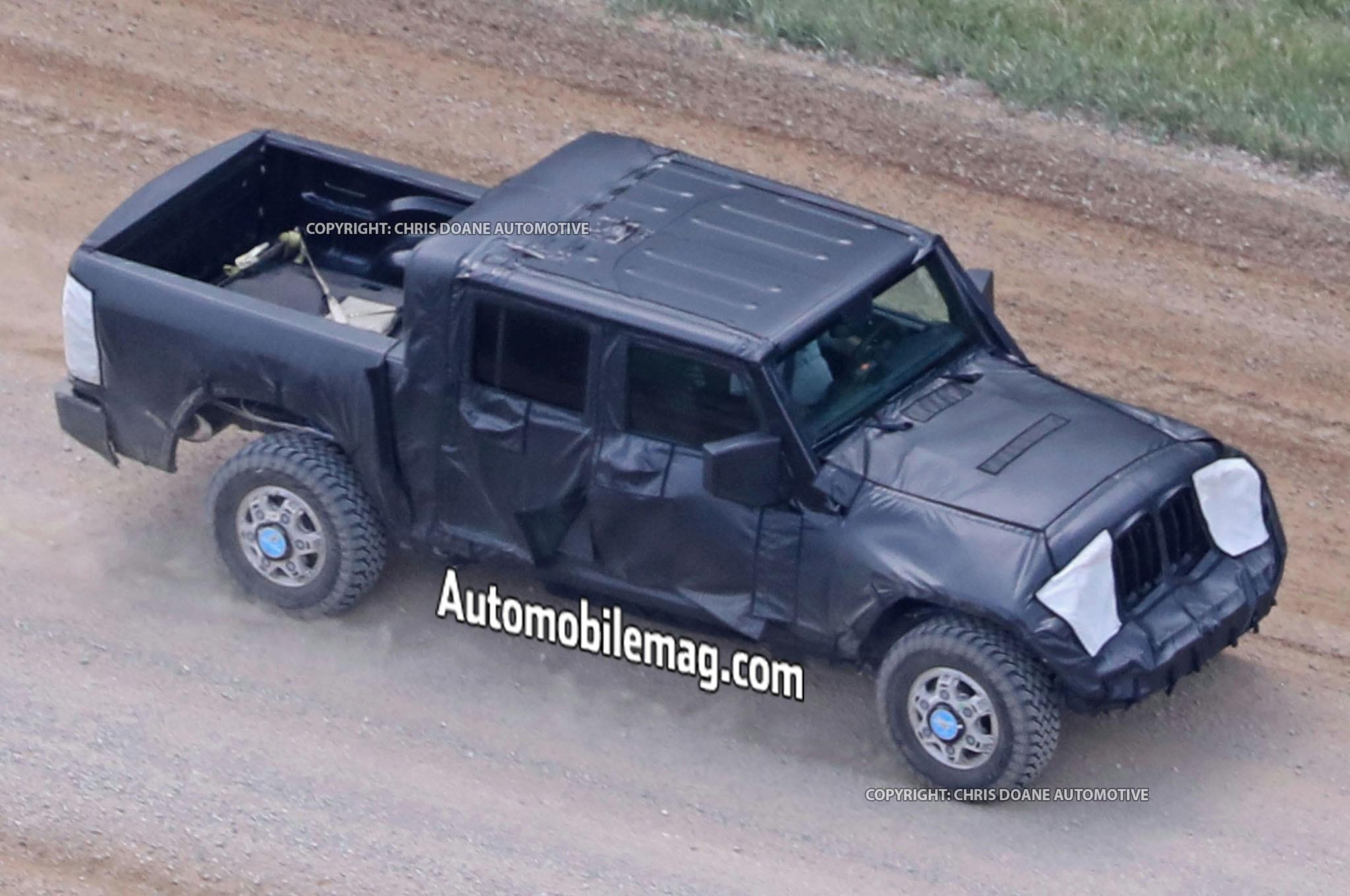 Jeep Wrangler Pickup Truck Spyshots Side Three Quarters