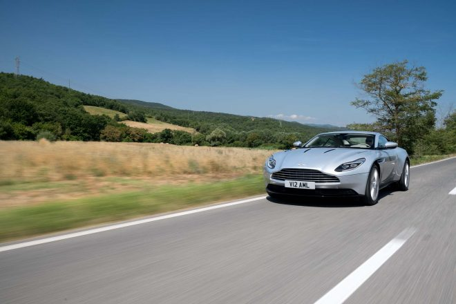 2017 Aston Martin DB11 front three quarter in motion 2