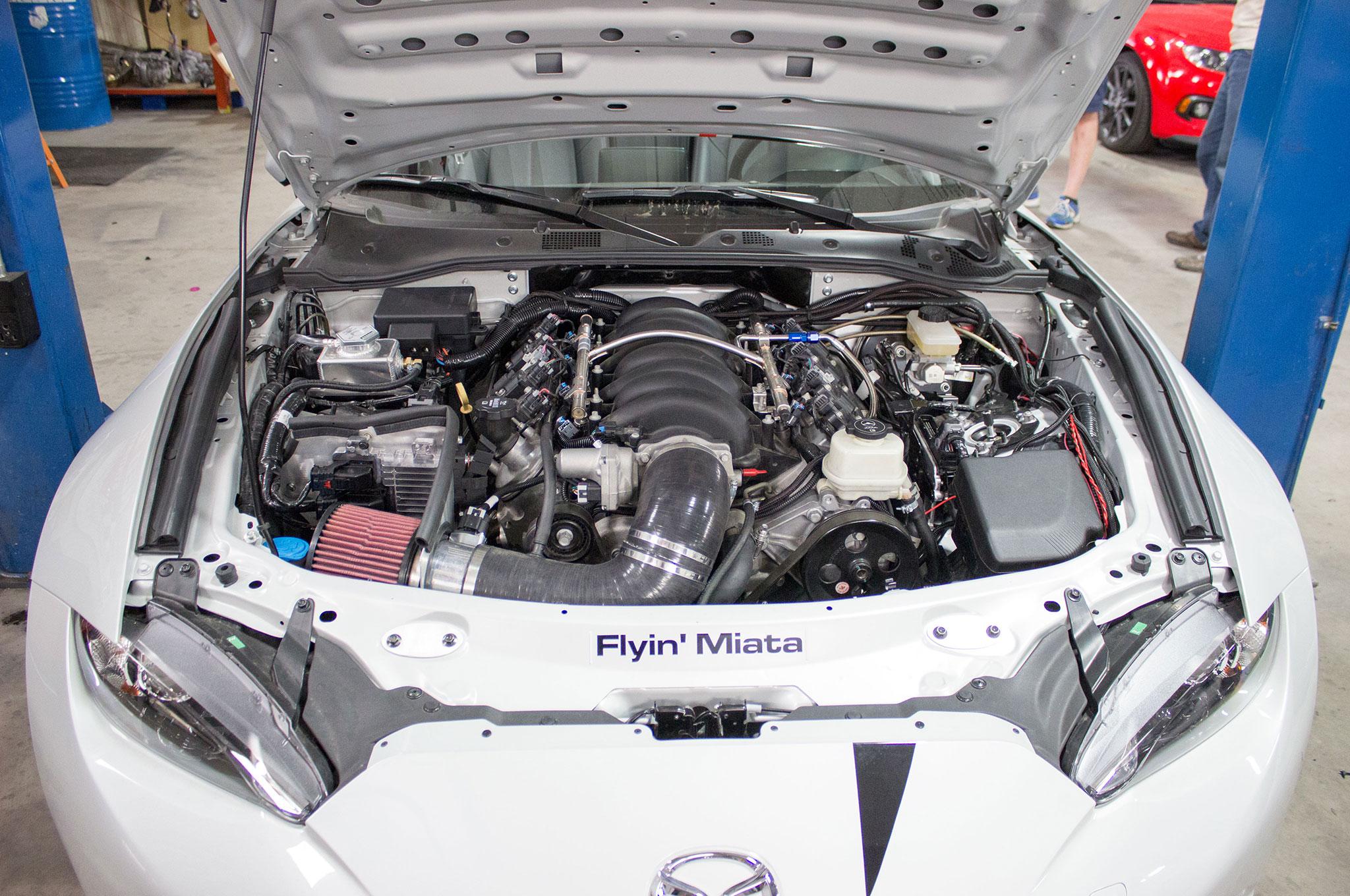 flyin miata v 8 conversion now available for nd mazda miata rh automobilemag com Miata Engine Swap Options Mazda Miata V8 Swap Kits