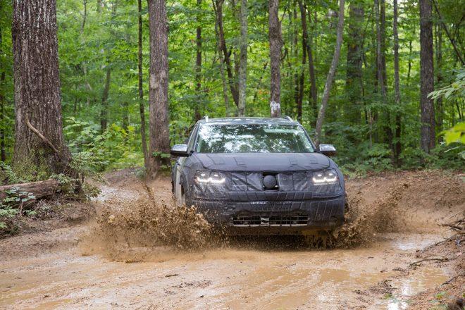 Volkswagen Midsize SUV Prototype front view in motion 09