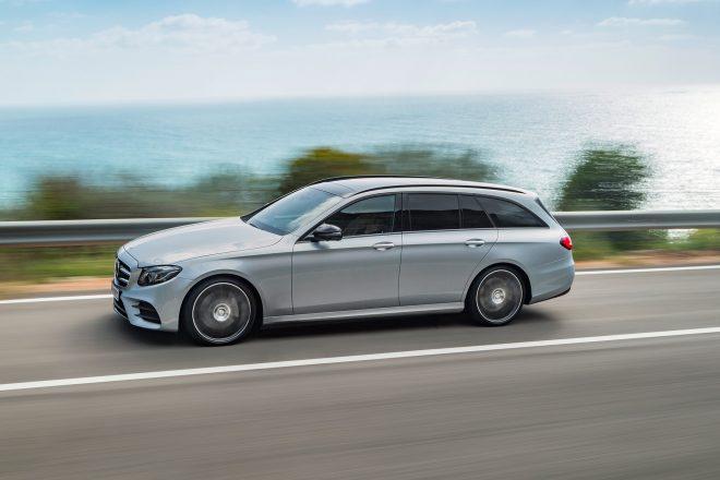 2017 Mercedes Benz E400 4Matic wagon side profile in motion