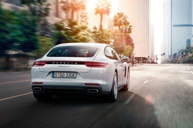 2017 Porsche Panamera 4 E Hybrid rear end in motion