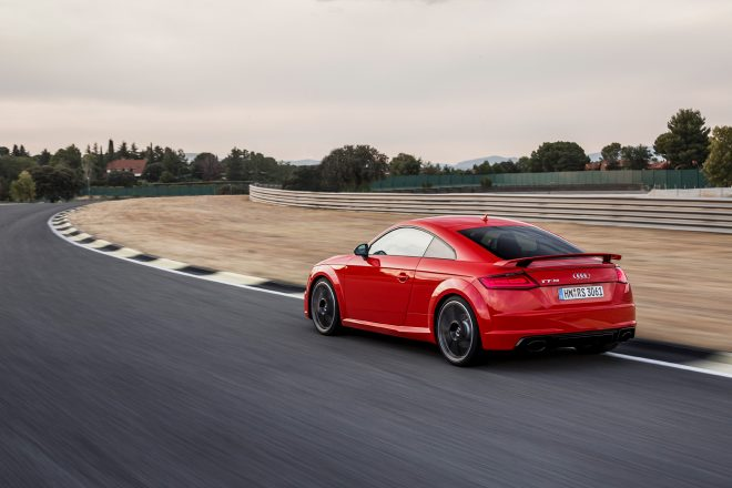 2018 Audi TT RS Coupe rear three quarter in motion 09