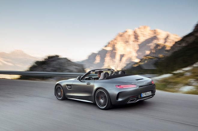 2018 Mercedes AMG GT C Roadster rear three quarter in motion