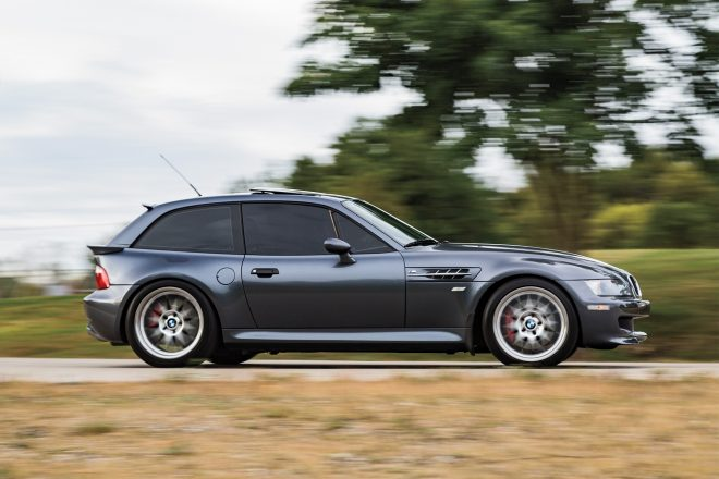 2001 BMW M Coupe S54 side profile in motion 01