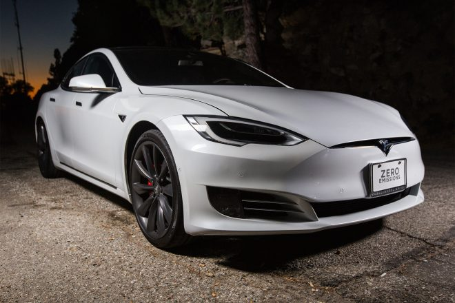 2016 Tesla Model S P90D front three quarter