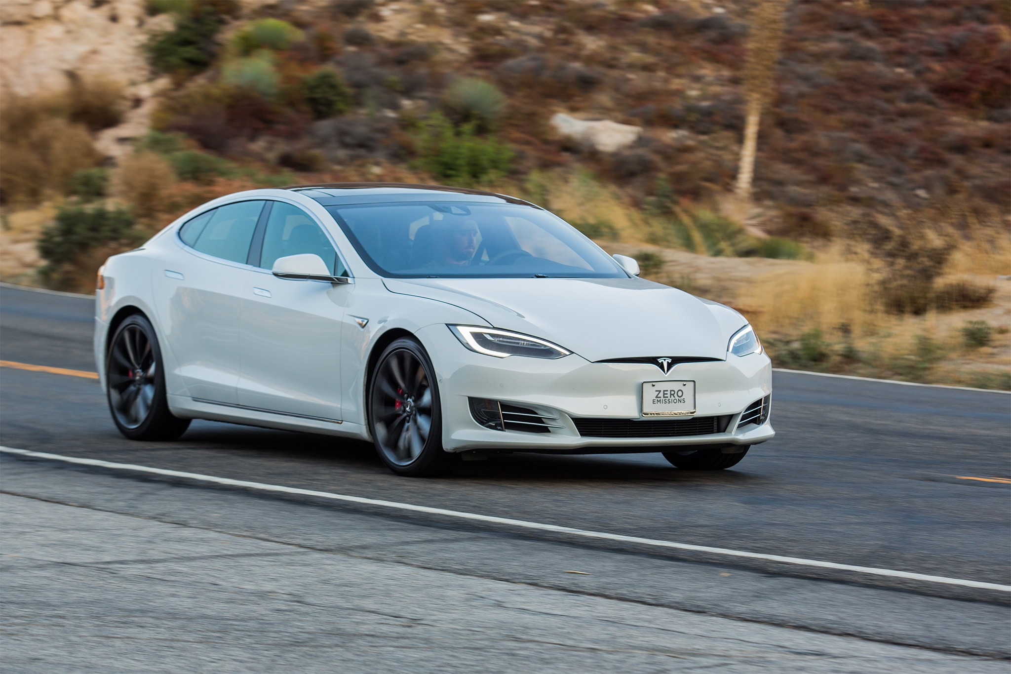 2016 Tesla Model S P90D Front Three Quarter In Motion 01