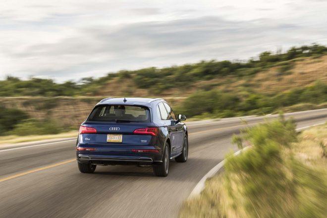 2018 Audi Q5 20 TFSI Euro Spec rear three quarter in motion 04