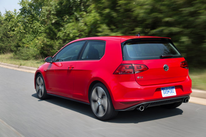 2016 Volkswagen GTI rear three quarter in motion