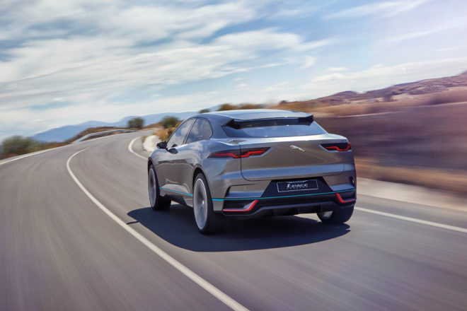 Jaguar I Pace Concept rear three quarter in motion 02