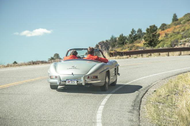 1957 Mercedes Benz 300SL Roadster rear three quarter in motion