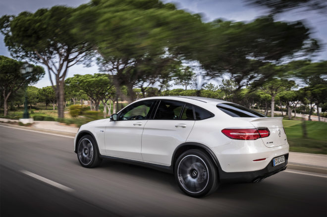 2017 Mercedes AMG GLC43 Coupe rear three quarter in motion 04