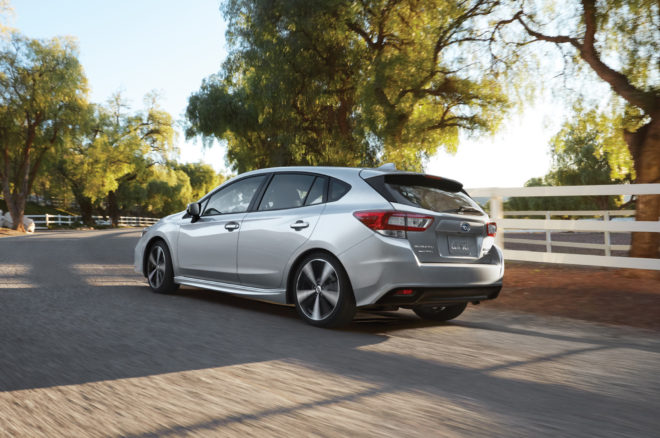 2017 Subaru Impreza 20i Sport 5 Door rear three quarter in motion