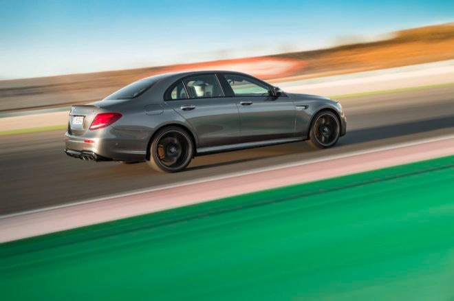 2018 Mercedes AMG E63 S rear side in motion