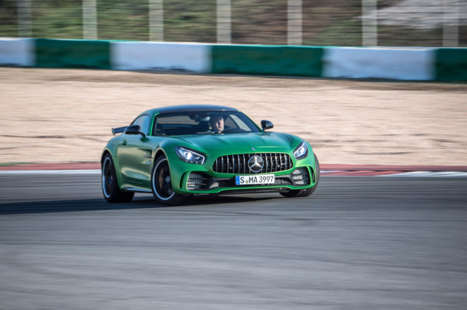 2018 Mercedes AMG GT R front three quarter in motion 14