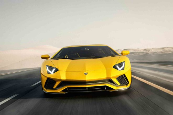 Lamborghini Aventador S front view in motion 03