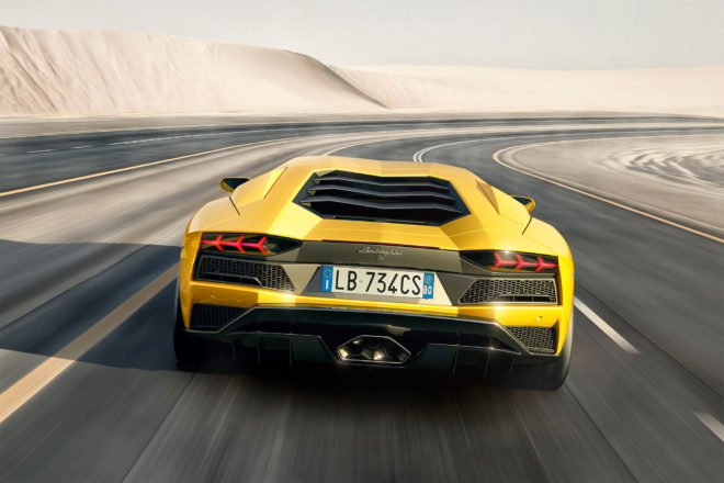 Lamborghini Aventador S rear view in motion