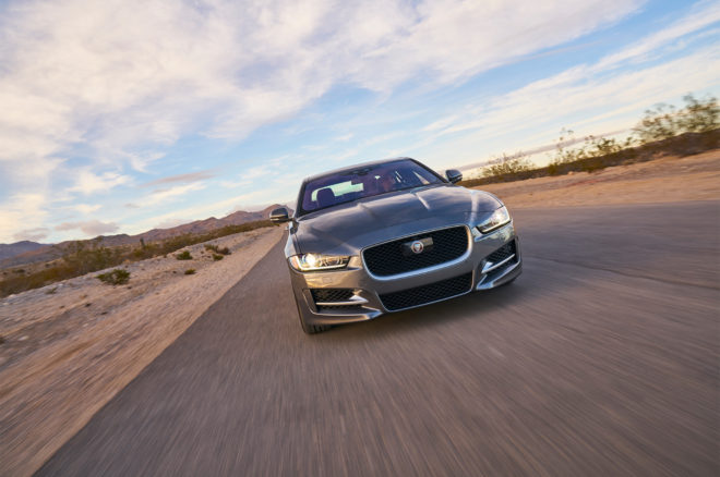2017 Jaguar XE 35t R Sport front view in motion 02