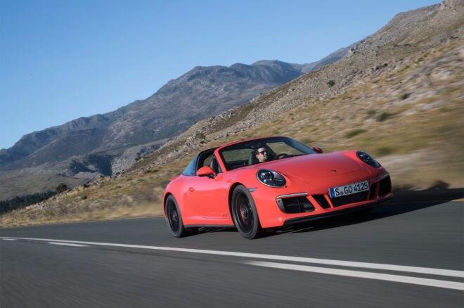 2017 Porsche 911 Targa 4 GTS front three quarter in motion 01