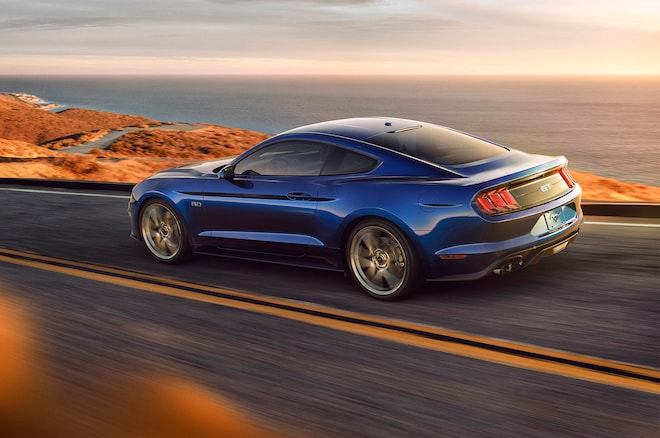 2018 Ford Mustang V8 GT With Performance Pack Rear Three Quarter In Motion