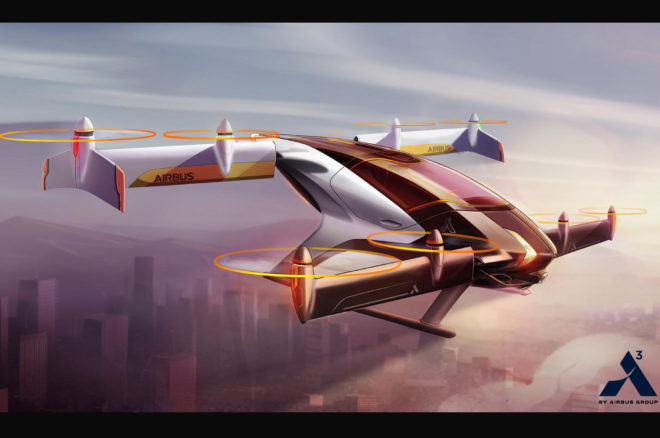 Airbus Vahana flying vehicle concept in flight