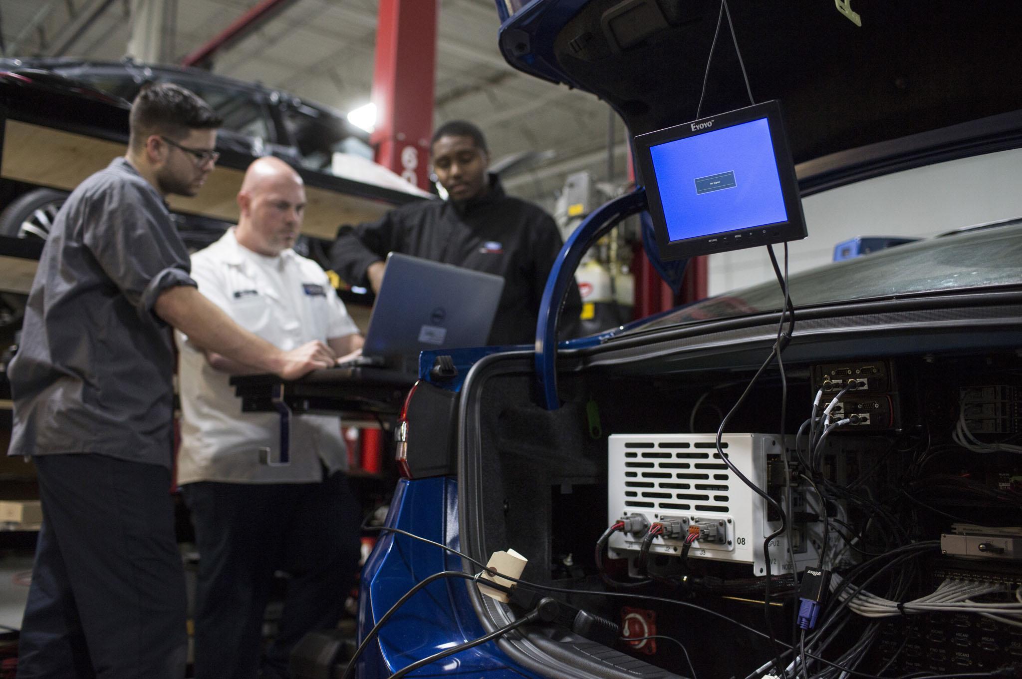 Ford Fusion Hybrid Autonomous Vehicle Brain in Trunk