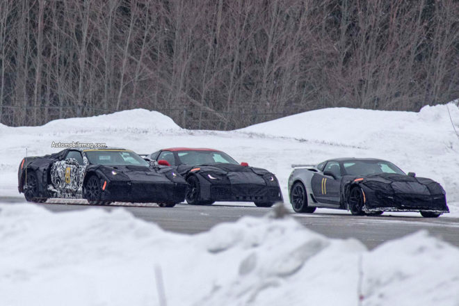 Mid Engine Chevrolet Corvette testing with ZR1 front three quarter 03