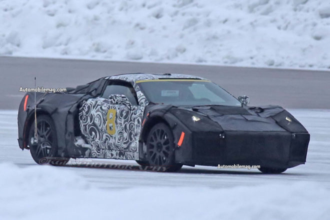 Mid Engine Chevrolet Corvette testing with ZR1 front three quarter 05