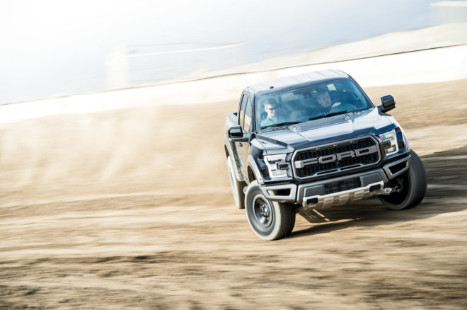 2017 Ford Raptor front view in motion