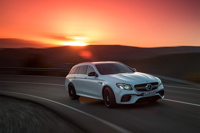 2018 Mercedes AMG E63 S Wagon Front Three Quarter In Motion 05
