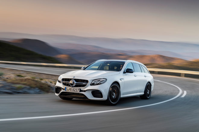 2018 Mercedes AMG E63 S Wagon front three quarter in motion 06