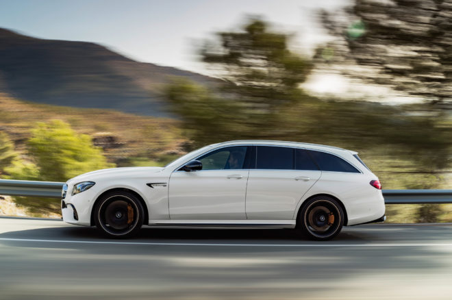 2018 Mercedes AMG E63 S Wagon side profile in motion 01