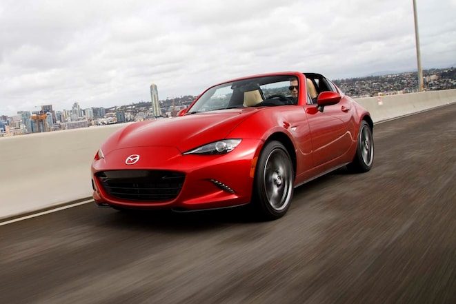 2017 Mazda MX 5 Miata RF Front Three Quarter In Motion 09 E1489169351799