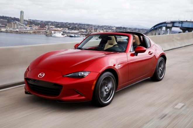 2017 Mazda MX 5 Miata RF front three quarter in motion 11