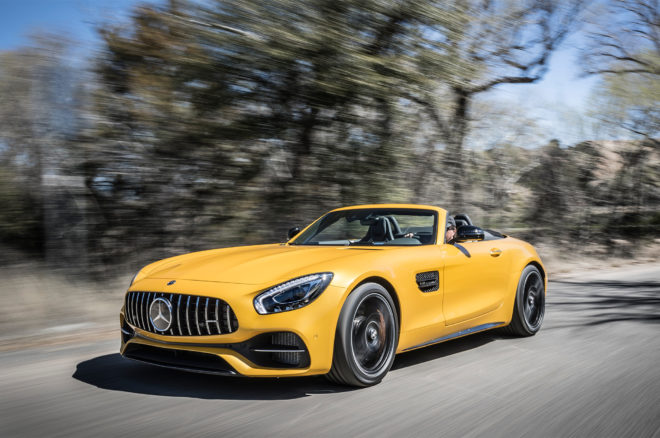 2018 Mercedes AMG GT C Roadster front three quarter in motion 02 1