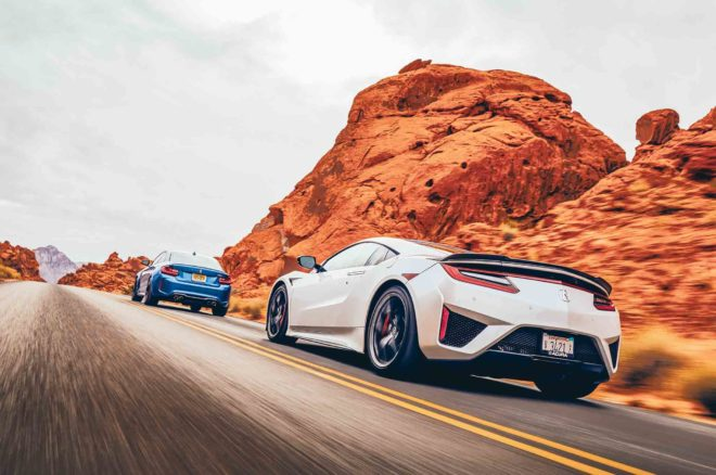 Acura NSX 2017 All Star Winner rear three quarter in motion