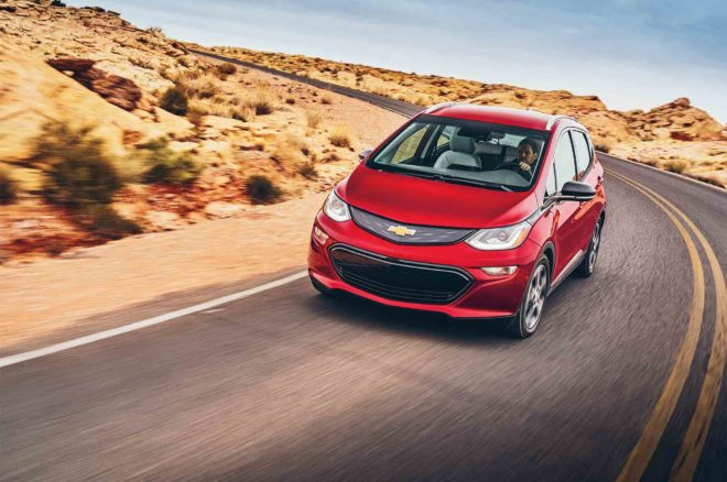 Chevrolet Bolt EV 2017 All Star Winner front three quarter in motion 02