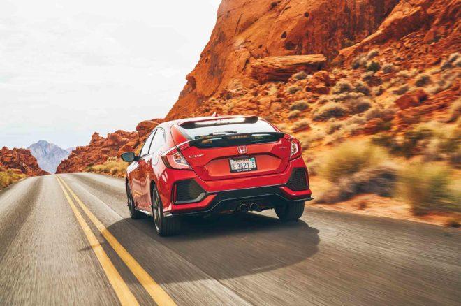 Honda Civic Hatchback Sport 2017 All Star Winner rear three quarter in motion 01