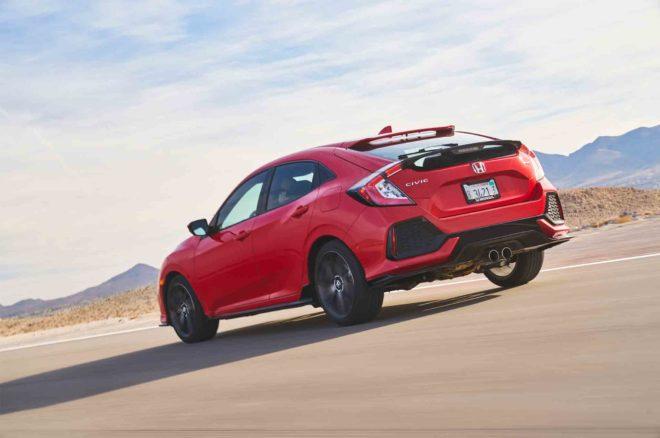 Honda Civic Hatchback Sport 2017 All Stars Contender rear three quarter in motion 03
